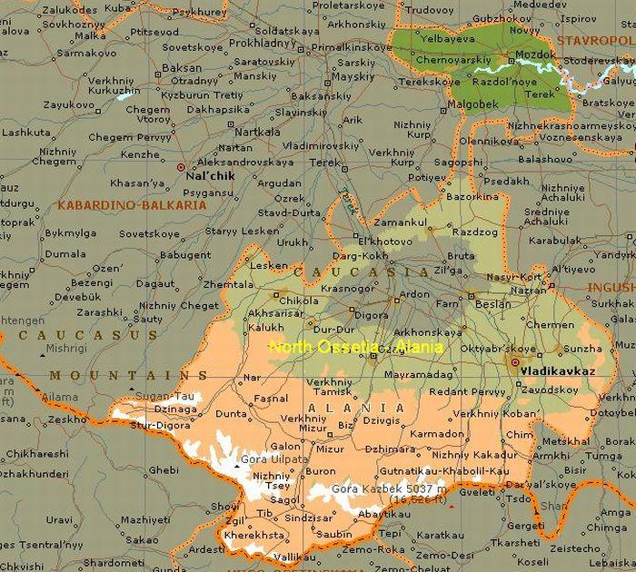 Worksheet. Ossetians  Map of the Caucasus region